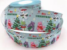 "5 Yards 1""25mm Printed Christmas Grosgrain Ribbon Hair Bow Sewing Crafts"