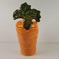 Carrot Shaped Canister Cookie Jar Orange Ceramic Serving Dish Lidded Veg Italy