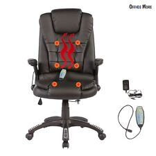 Office Massage Chair Leather Executive Heated Vibrating Computer Chair Black