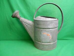 Vintage Wheeling Galvanized Steel Metal #8 Quarts Watering Can w/ Sprinkler Head