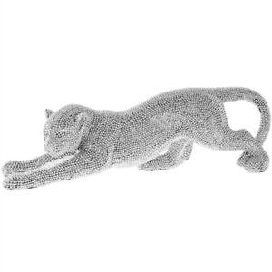 Silver Art Sparkle Diamante Glitter Cheetah Cat Sculpture Statue Ornament Gift