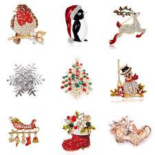 christmas brooch badge pins rhinestone enamel broach red robin xmas party gift - Christmas Pins