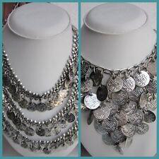 Fashion Jewelry Coin Statement Necklace Gypsy Boho Vintage Hippy Tribal Bohemian