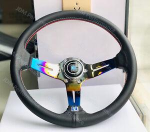 14 Inch ND Leather Steering Wheel Burnt Blue Deep Spoke Racing Steering Wheel