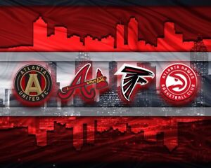 ATLANTA SPORTS 20x30in POSTER Falcons, Braves, United and Hawks Free Shipping