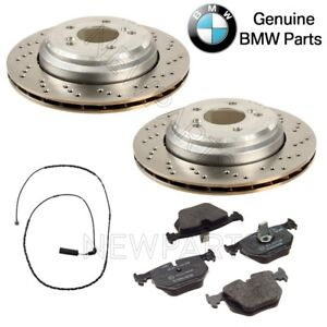 For BMW E46 M3 E85 E86 Z4 3.2L L6 Rear Brake Discs Pads & Sensor KIT Genuine