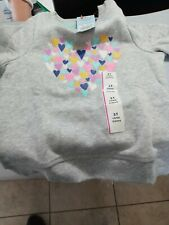 Cat & Jack Toddler Girl Heather Gray Heart Crew Fleece Sweatshirt Size 3T Nwt