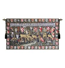 """Medieval Knight  Tapestry Verdure With Shields & Deer 26""""x46"""""""