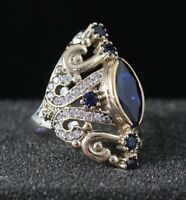 925 Sterling Silver Handmade Antique Turkish Sapphire Ladies Ring Size 6-10