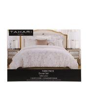 Tahari Home Neva Taupe Damask Queen 3-Piece Duvet Cover + Shams Set 100% Cotton