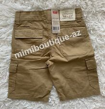 Levi's Boys Cargo Short Khaki Tan Pants Adjustable Waistband Kids Bottom $40 NEW