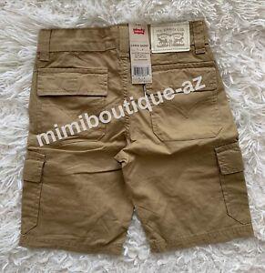 Levi's Boys Cargo Short Khaki Tan Pants Adjustable Waistband Kids Bottom $40 NEW