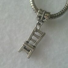 Silver Chair Dinning Chair Dangle Bead Gift for European Charm Bracelet Necklace