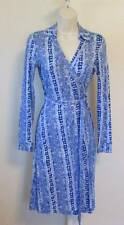 Diane von Furstenberg New Jeanne Two Oasis Snake Simple Blue wrap dress 0 white