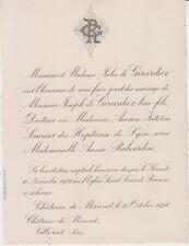 *1928 Faire-part mariage Joseph de GIRARDIER & Annie RABOURDIN - Roanne (Loire)