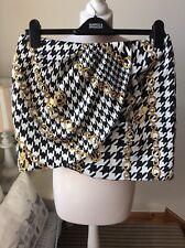 "BNWT RIVER ISLAND Black White Chain Print Tulip Mini Skirt Size 12 L16"" RRP£30"