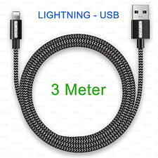 Lightning to USB Cable Nylon 3 Meter Top-Quality 2.4A for Apple iPhone and iPad