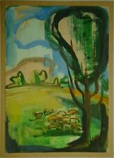 Eliahu Adler Israel Landscape With Sheep Signed Listed Artist Romania Jewish Art