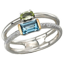 LADIES 18K YELLOW GOLD & STERLING SILVER .925 BLUE TOPAZ PERIDOT DIAMOND RING