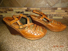 "Womens Sz 10M REPORT ""Chamomile"" Brown Leather Woven Sandals Shoes Wedge Heels"