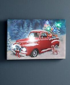 Light & Sound Vintage Red Pickup Truck w/ Dog  Holiday Xmas Canvas Wall Art