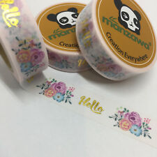WASHI TAPE GOLD FOIL HELLO & FLORAL ON PALEST PINK 15MM WIDE X 10MTR ROLL PLAN