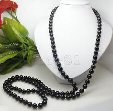 "Beautiful Handmade 8mm Natural Black Agate Onyx Round Beads Necklace 50"" Long"