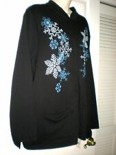 NWT BRECKENRIDGE WOMAN 2X Black LS Zipper Fleece Embellished Snowflake Jacket