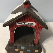"Dept 56 Heritage Village ""Red Covered Bridge"" Hand Painted Porcelain"