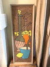 "LARGE Gravel Art Hanging, 37.5"" x 13"", 1960s, Wine & Cheese, MCM Vintage"