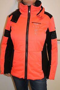 Sportalm Kitzbühel Women's Ski Jacket Cat with Hood Orange Black Size 44 XXL