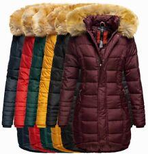 Navahoo Damen Winter Jacke FVS3 Steppmantel warm gesteppt lang Steppjacke Papaya
