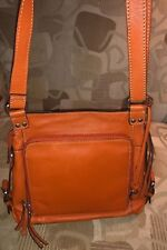 FOSSIL Orange LEATHER Traveler Crossbody Messenger Bag Purse Organizer