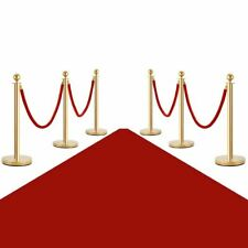 Durable 6pc Red & Gold Stanchion Posts Queue Pole Crowd Control Barrier