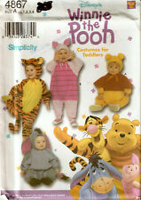 SIMPLICITY TODDLER WINNIE THE POOH EEYORE PIGLET TIGGER COSTUME PATTERN 4867