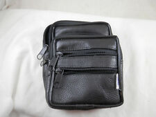 Dally Boy Black Leather belt bag organizer wallet 4 compartments zippered 5.5""