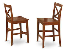 SET OF 2 KITCHEN COUNTER HEIGHT CHAIRS WITH PLAIN WOOD SEAT IN CHERRY BROWN