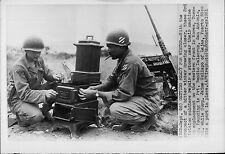 Getting Ready for Winter Service the Stove and 50 Caliber Gun Korea Press Photo