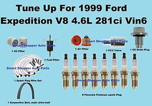 Tune Up Kit for 1999 Ford Expedition Vin6 Spark Plug Wire Set, Belt Engin Filter