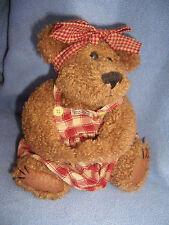 "Boyds 10-11"" girl Bear dressed plush brown fur gingham homespun dress stuffed"