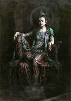 Dream-art Oil painting Dunhuang flying seated Guanyin Kwan-yin Avalokitesvara