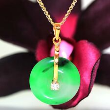 18k & 14k Yellow gold natural A Grade Jade Jadeite & VS-1 Diamond Necklace chain