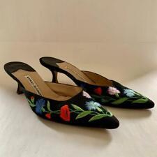 """MANOLO BLAHNIK Black Canvas Multi Floral Embroidered 2.5"""" Heel Mules  US 37.5"""