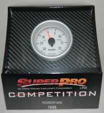 "NEW 2-1/16"" SuperPro Competition Boost Gauge Meter 20 PSI 30 VAC w/ Install kit"