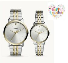 ORIGINAL FOSSIL His and Her Couples Stainless Steel Watch BQ2467SET Silver Gold