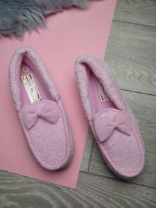 WOMENS LADIES TEXTILE BOW SOFT WARM COMFY SLIP ON MOCCASIN SLIPPERS SIZE UK 5