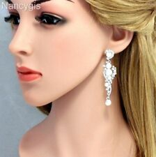Pretty Silver Crystal Pearl Long Dangle Party Gift Bridal Wedding Earrings