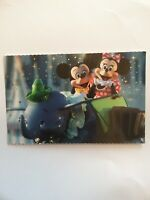 Authentic Original Disney Parks Postcard Mickey & Minnie On Dumbo Ride