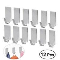 12pcs Stainless Steel Sticky Hooks Self Adhesive Bathroom Wall Door Hat Hanger