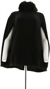 IMAN Platinum Luxe Touch Cashmere Cape Faux Fur Collar BLACK M/L # 575-545